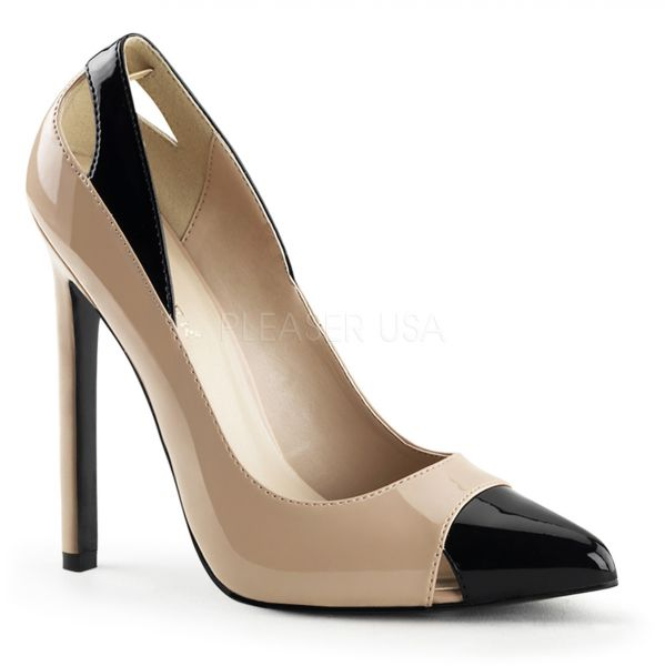 High Heel Stiletto Pumps zweifarbig nude-schwarz SEXY-22